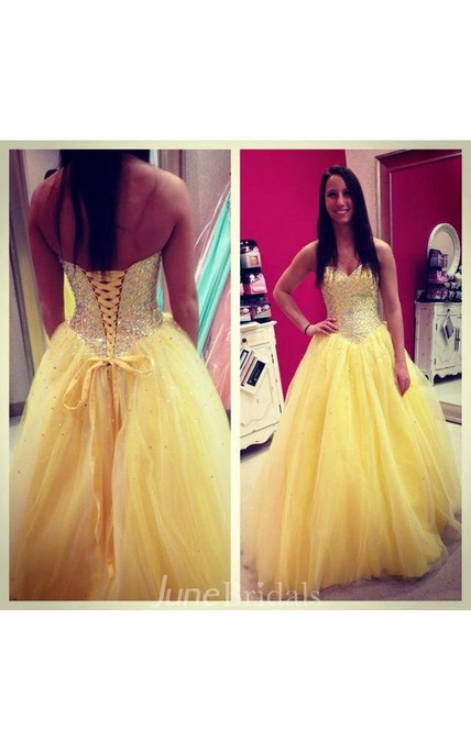 Sweetheart A-line Ballgown with Sequins and Pleats