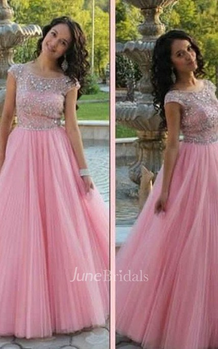 A-Line Princess Short Sleeves Scoop Beading Tulle Floor-Length Dresses