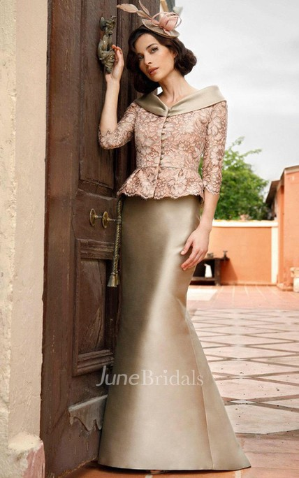 Satin Mermaid Dress With Lace Jacket