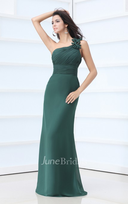 Asymmetrical One-Shoulder Dress With Flower And Ruching