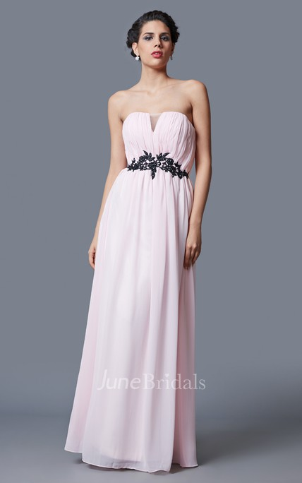 Fairy Strapless V-cut A-line Chiffon Gown With Lace Belt