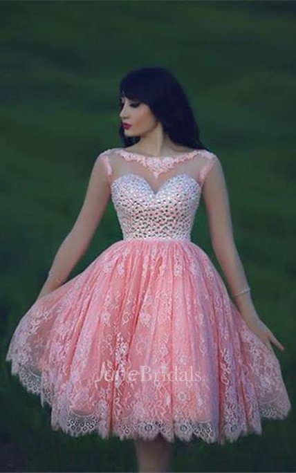 Lovely Beadings Lace Cocktail Dress Open Back Pink Homecoming Dress