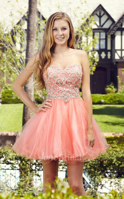 A-Line Short Sweetheart Sleeveless Tulle Satin Dress With Beading And Ruffles