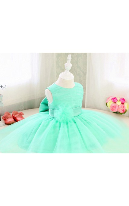Basic Style Sleeveless Organza Floor Length Toddler Girl Dress