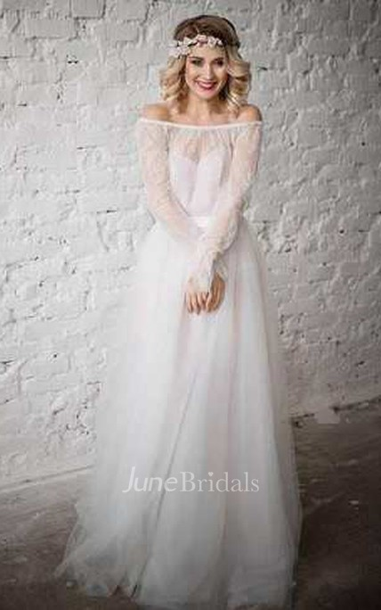 bf8a9375 Tulle Satin Lace Bolero Wedding Dress - June Bridals