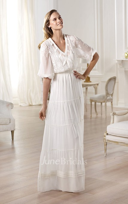 Unique Half Sleeve V-neck Long Dress With Ruching and Embroidery