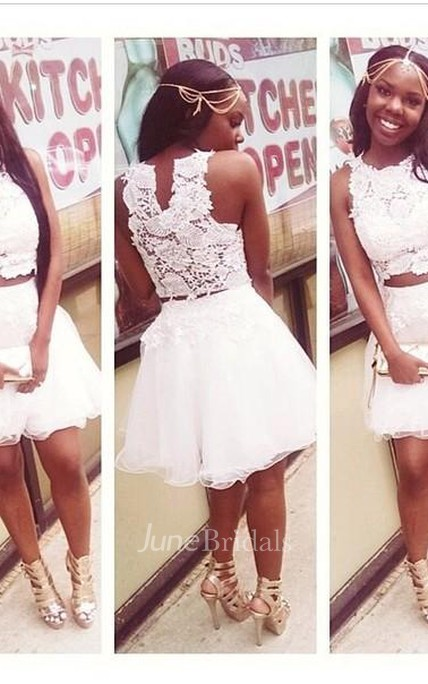 White Lace Appliques Mini Cocktail Dresses Scoop A-Line Homecoming Dresses