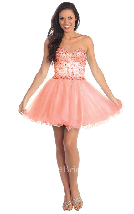 A-Line Short Sweetheart Sleeveless Tulle Corset Back Dress With Ruffles And Beading