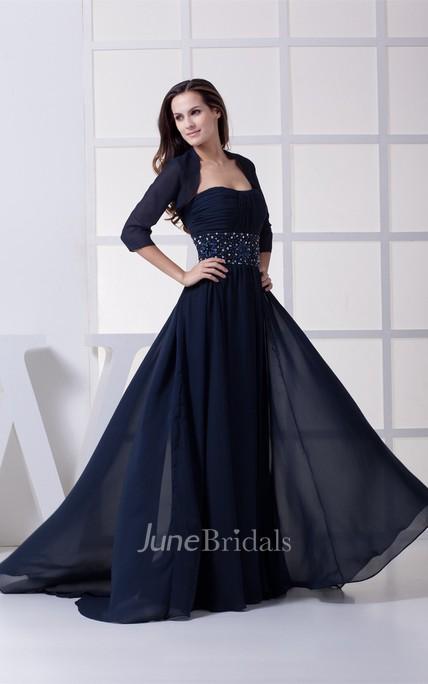 Strapless Ruched Chiffon Maxi Dress with Bolero and Beaded Waist