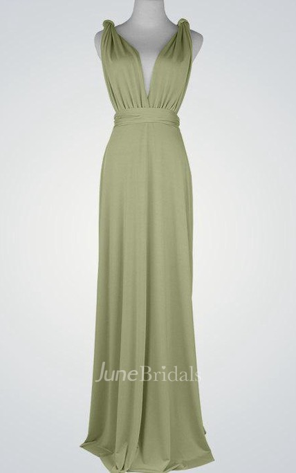 2d06d5749e55 Maxi Green Bridesmaid Prom Light Green Multiway Cocktail Infinity  Convertible Wrap Dress - June Bridals
