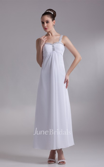 Strapped Ankle-Length Chiffon Dress with Beading