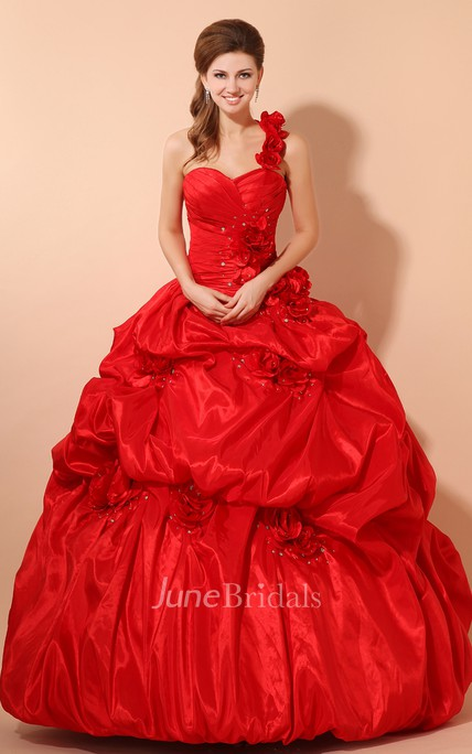 Flamboyant A-Line Sweetheart Sleeveless Ball Gown With Pick-Up Ruffles And Flower