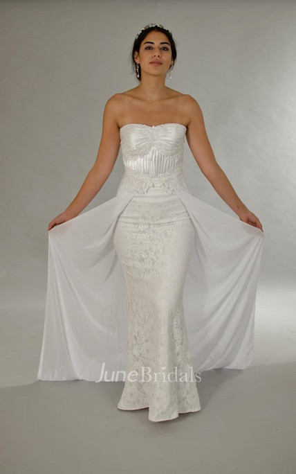 Strapless Long Sheath Lace Wedding Dress With Detachable Chiffon Skirt