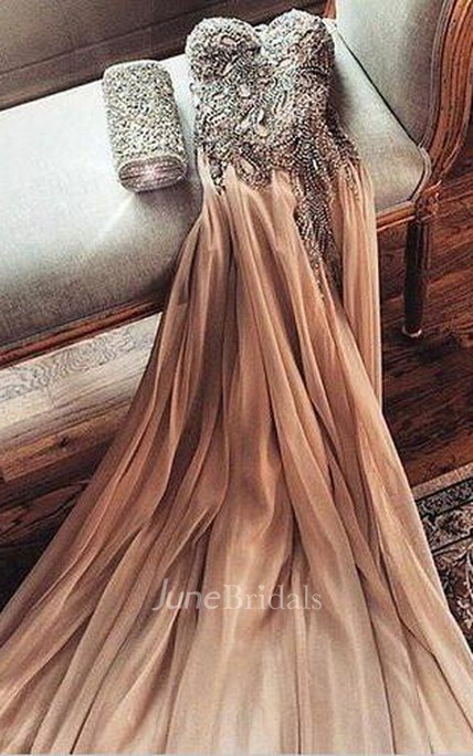 Gorgeous Sweetheart Crystal Prom Dress 2018 Long Chiffon Party Gowns