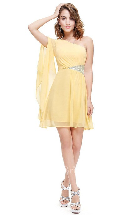 A-line One-shoulder Short Mini Pleated Chiffon Dress