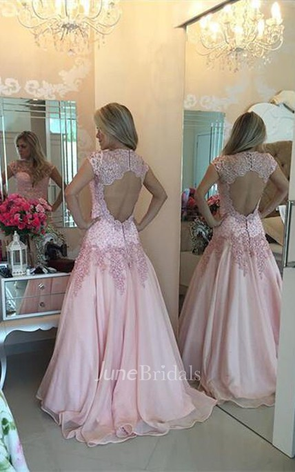 Delicate Pink Lace Appliques Prom Dress 2018 Sweep Train