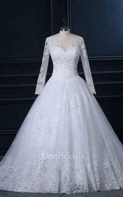 High Neck Long Sleeve Cathedral Train Tulle Lace Dress With Button