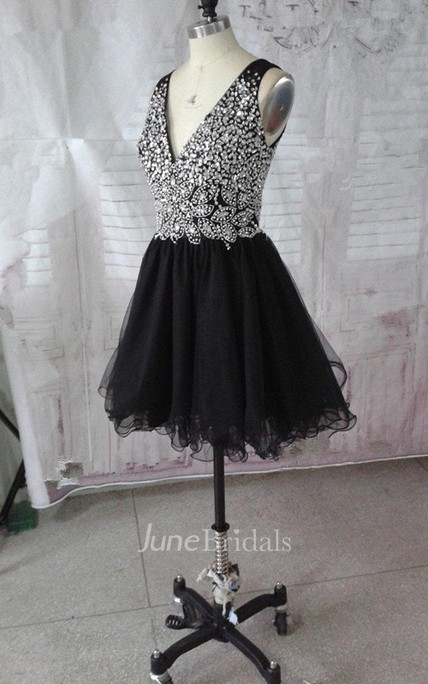 A-line Short V-neck Tulle Dress With Beading