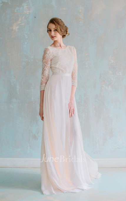 Jewel Neck 3 4 Sleeve Long Chiffon Dress With Lace Bodice and Sash ...
