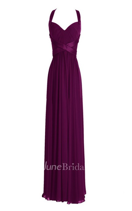 Sleeveless Empire Long Chiffon Crisscross Dress