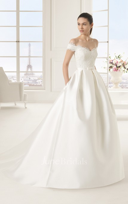 Princess Style Off-shoulder Lacy Bodice Satin Gown With Bow and Pockets