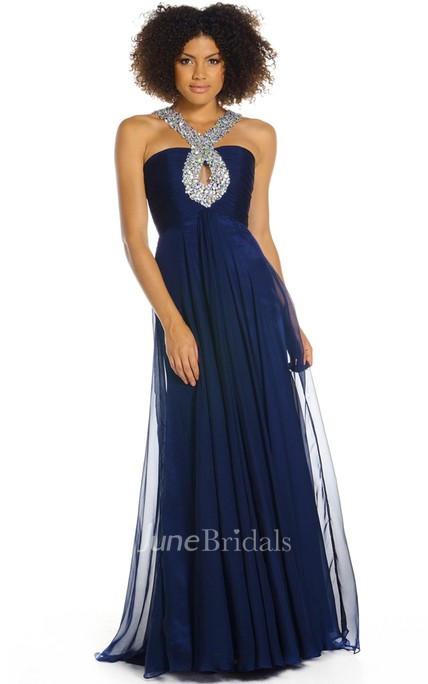 Sleeveless Beaded Strapped Chiffon Prom Dress With Ruching