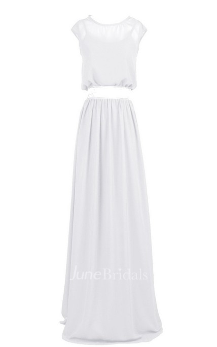 Sleeveless Bateau Neck Long Pleated Chiffon Dress