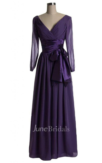 3 4 Sleeved A-line Dress With Bow and Illusion Style