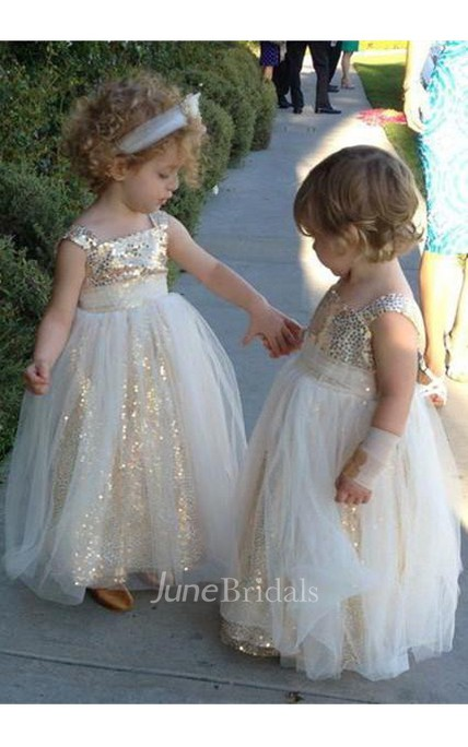 Glamorous Sequined Tulle A-line 2018 Flower Girl Dress Straps Sleeveless