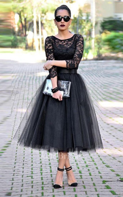 Sexy Black Lace 3 4 Sleeve Prom Dresses 2018 Tulle Tea-Length