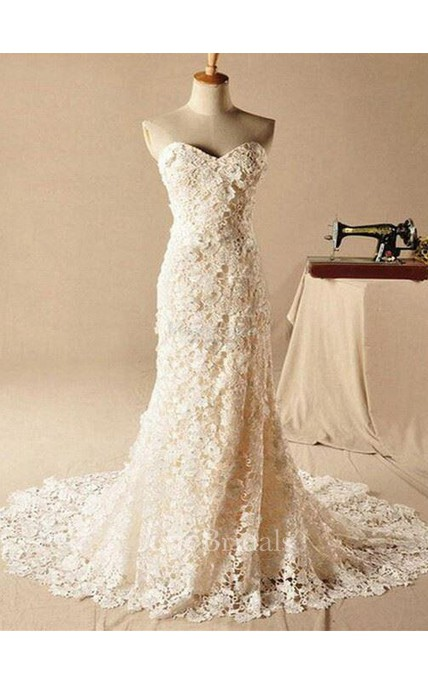 Gorgeous Sweetheart Lace Appliques Wedding Dresses 2018 Long