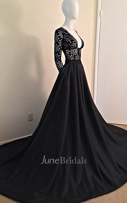 f575912a0ef Sexy Black Long Sleeves Lace Porm Dress 2018 With V-Neck A-Line Evening  Dress - June Bridals