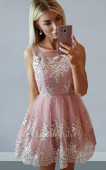 A-line Bateau Sleeveless Appliques Pleats Ruching Short Mini Lace Homecoming Dress