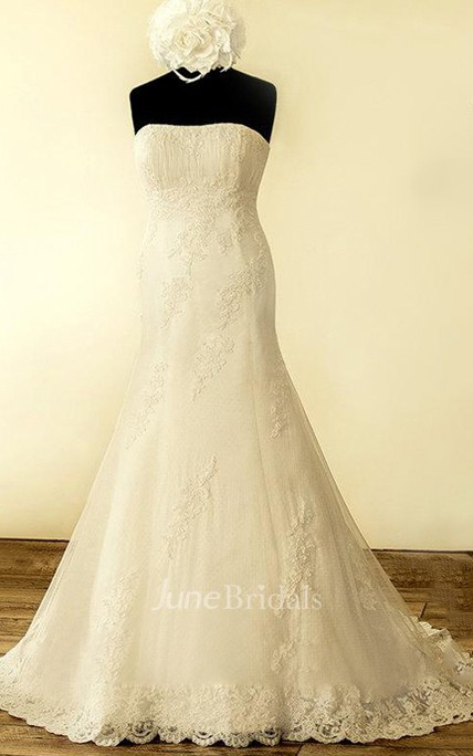 70b66c414d A-Line Strapped Lace Satin Dress With Beading Sequins Appliques Corset Back  - June Bridals