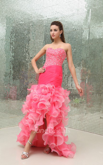 Strapless Mermaid Ruffled Dress With Beaded Top and Front ...