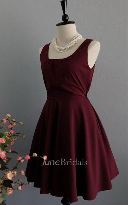 Sweet Sleeveless A-line Satin Dress With Bow