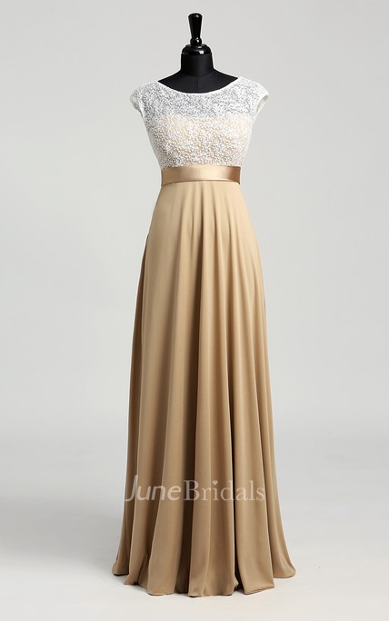 Floor-length A-line Bateau Cap Short Sleeve Illusion Jersey Lace Dress
