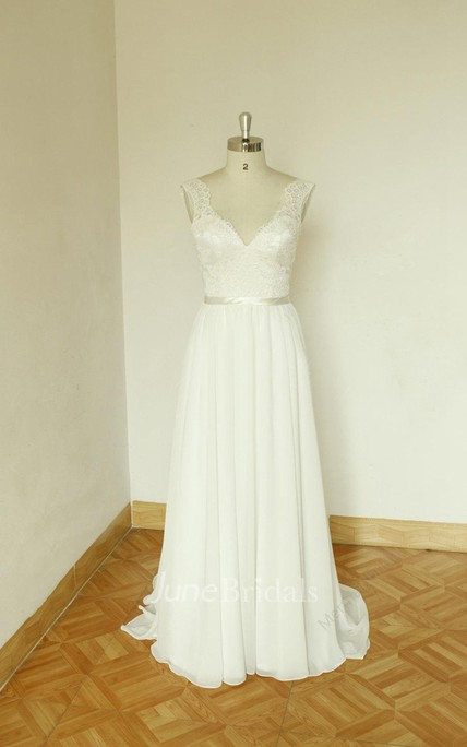 V-Neck Sleeveless Long Chiffon Wedding Dress With Sash And Deep-V Back
