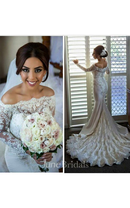 f26d17370f1 Sexy Off-the-shoulder Long Sleeve Mermaid Wedding Dress With Lace Beadings  - June Bridals