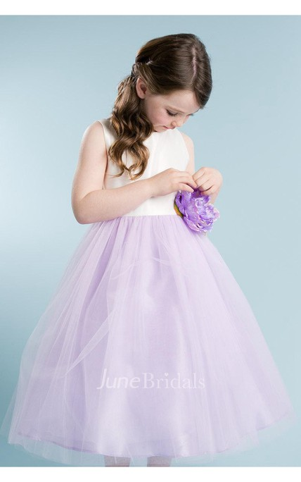 Sleeveless Scoop Neck Over Tulle Skirt A-line Dress With Bow Sash