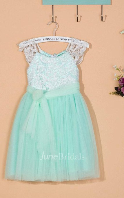 Cap Sleeve Pleated A-line Tulle&Lace Dress With Ruching