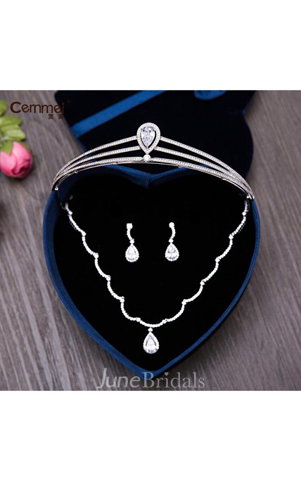 Korean Bride Mosaic Crown Necklace Three - Piece Set Of Wedding Dress Accessories