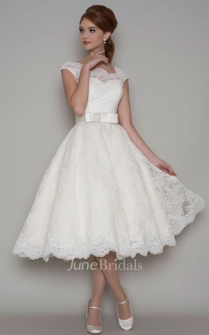 9a9b27b264c Tea-Length A-Line Cap Sleeve Square Neck Ribboned Lace Wedding Dress - June  Bridals