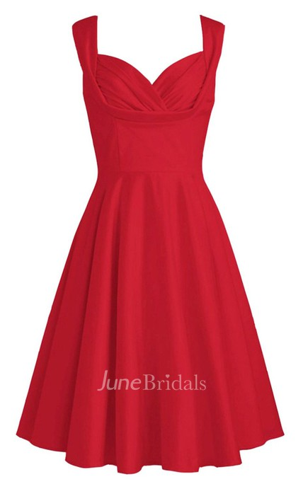Queen Anne A-line Dress With Pleat