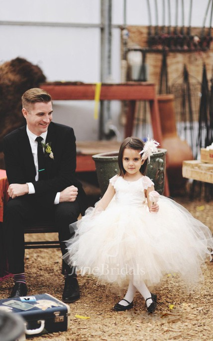 Lace Back Cap Sleeve Tulle Couture Flower Girl Dress