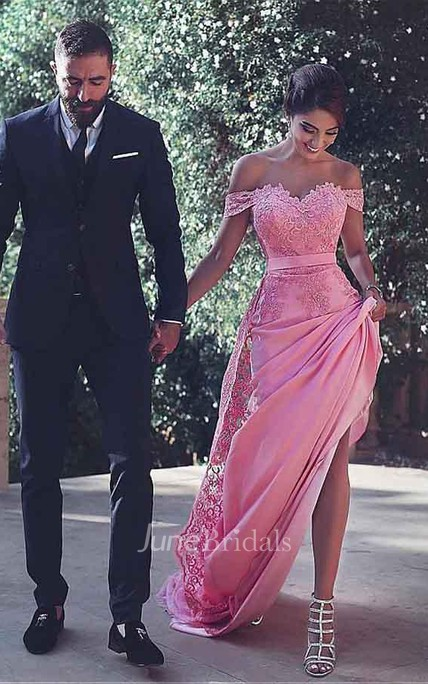 Off-the-Shoulder Tulle Prom Dress with Beading