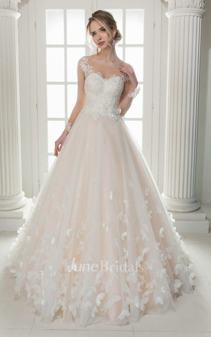Illusion Scoop-Neck Cap-Sleeve A-Line Tulle Ball Gown ...
