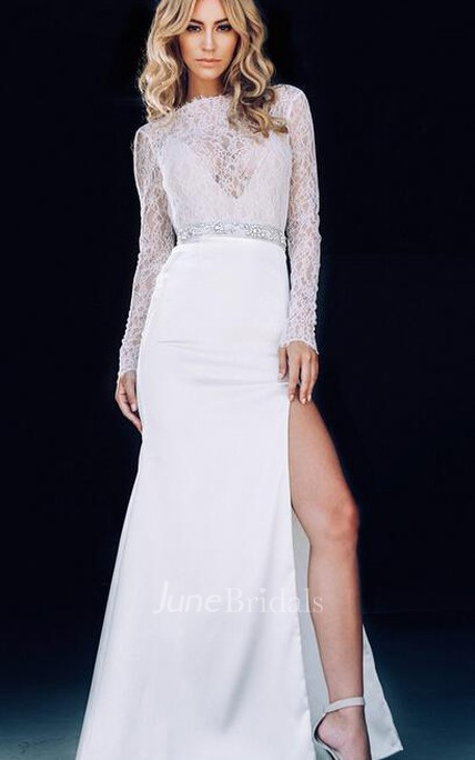 Sexy Lace White Mermaid 2018 Prom Dress Front Split Beadings