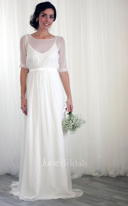 Vintage Inspired Chiffon Long Wedding Dress With Half Sleeves