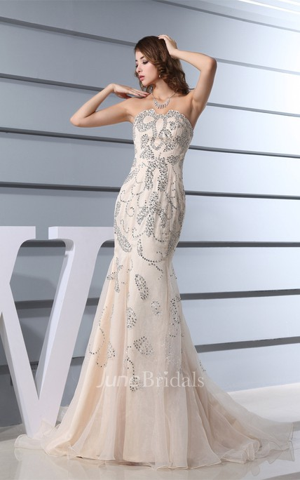 Strapless Notched Mermaid Tulle Dress with Beading and Pleats